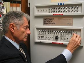 Leonard Kleinrock demonstrates the functions of the Interface Message Processor (IMP), an essential component of ARPANET.