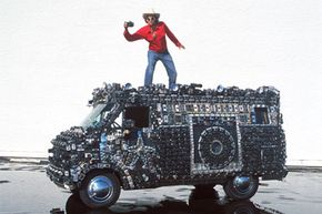 Harrod Blank's Camera Van is completely covered with cameras of all shapes and sizes -- it weighs 7,000 pounds (3,175 kilograms).