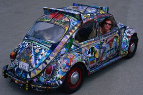 """Because of his extreme attention to detail, Ron Dolce's """"Glass Quilt"""" art car took more than 18 years to complete."""