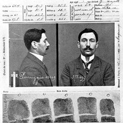 "The police record of Vincenzo Perugia, who stole the ""Mona Lisa"" in 1911."
