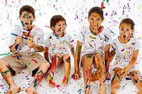 Make like Jackson Pollock and plan some splatter painting.