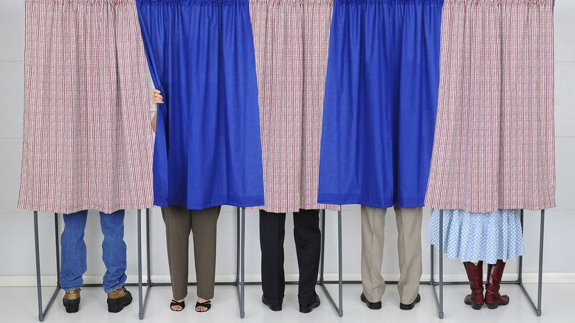 people in polling place