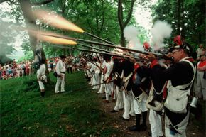Muskets weren't the most petite weapons, as this 1989 re-enactment photo demonstrates.