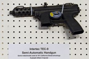 A TEC-9 semi-automatic handgun is displayed at the Jan. 24, 2013, press conference held by U.S. Sen. Dianne Feinstein to announce the introduction of federal legislation to ban assault weapons.