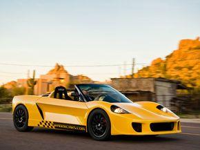 Steve Graber driving his own creation -- the custom-fabricated, La Bala roadster.