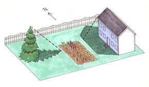 Consider tall objects such as buildings, trees, and shrubs when deciding where to place your garden.