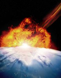 A rendering of an asteroid colliding with Earth.