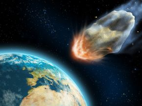 An illustration of an asteroid on its way to Earth. See more space dust images.