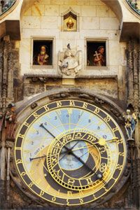 Prague's astrolabe clock has been imparting all sorts of info to its many observers over the centuries. Time? Check. Sun's position in the zodiac? Check. Sun's altitude? Check.