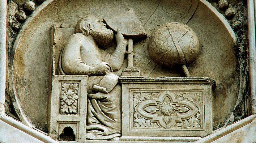 A marble panel on the main cathedral in Florence, Italy, depicts the mysterious figure Gionitus, perhaps an astronomer, perhaps an embodiment of astronomy itself. PHAS/UIG/Getty Images