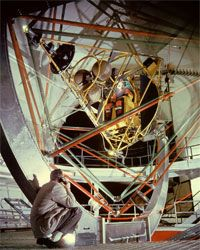A Mercury astronaut trains in the gimbal rig to learn how to recover if his space capsule spun out of control.