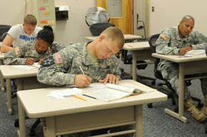 These students are taking the Test for Adult Basic Education, which will help improve their technical scores on the ASVAB.