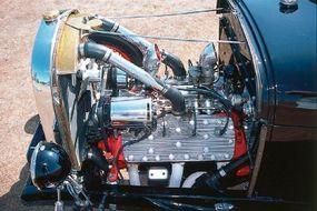 The Bud Bryan '29 Roadster's engine is a 276-cid 1948 Mercury flathead V-8.