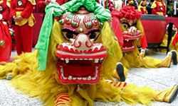 Chinese New Year celebrations often feature dancers and acrobats, including dragon puppets -- dragons are said to bring good luck during the coming year.