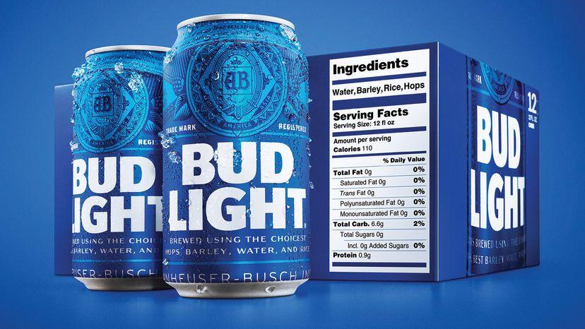 Bud Light nutritional label