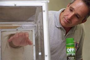 Jonathan Day, Ph.D, of the University of Florida Medical Entomology Laboratory, sticks his arm in a cage filled with mosquitoes to demonstrate the effectiveness of repellants containing DEET.