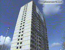 The Barkway Court Towers in London, England: The building was blasted by Controlled Demolition Group, Ltd. in February 2000.
