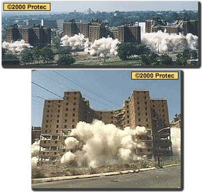 The Hayes Homes, in Newark, N.J.: The 10-story housing project was demolished in three separate phases, over the course of three years. Even though all the buildings had exactly the same design, blasters handled the implosions differently for each phase. These towers were blasted by Engineered Demolition, Inc. in the summer of 1999.