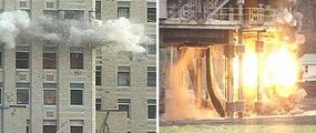 Concrete columns (on the left) are blown apart with conventional dynamite or a similar sort of explosive. Steel columns (on the right) are sliced in half using a high-velocity explosive called RDX.
