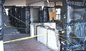 Columns are fully loaded with explosives and hooked up to blasting caps and fuses.