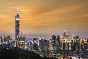 Sunset view of the Taipei 101 tower in Taiwan.