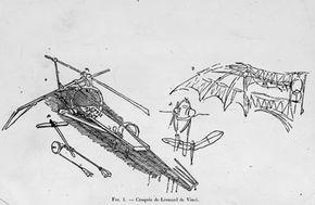 A sketch of Leonardo da Vinci's complex ornithopter.