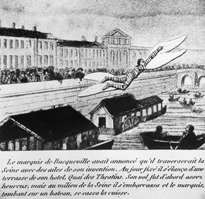 An illustration depicting the Marquis de Bacqueville's attempted flight across the Seine, the moment before he plunged on top of the deck of a barge and broke his leg.