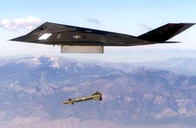 An F-117 Nighthawk engages its target and drops a bunker buster during a testing mission at Hill Air Force Base, Utah.