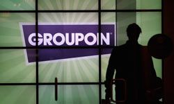 Groupon's logo is a prominent design feature of the e-commerce site's Chicago headquarters lobby.
