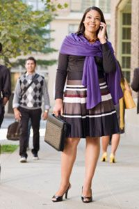 """Dressing """"business casual"""" means staying professional with full coverage and neutral colors. But it also leaves room for something more expressive, like a jewel-toned shawl."""