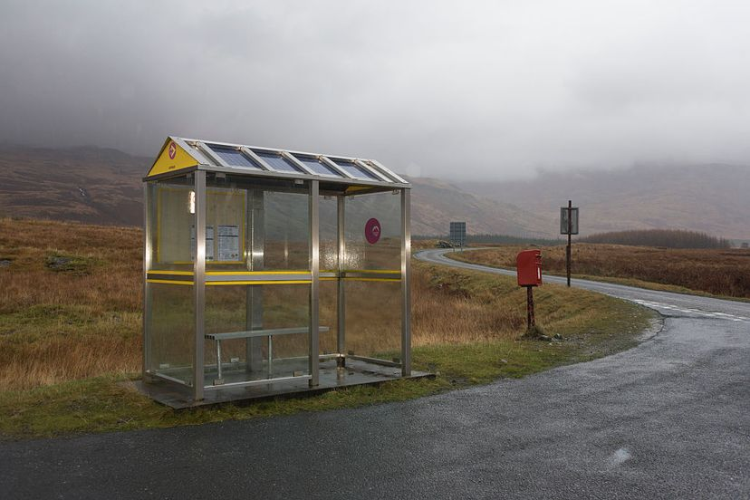 lonely scottish bus stop