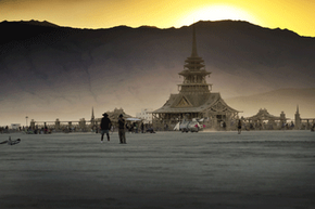 The 2012 incarnation of Black Rock City's Temple stood out in the rugged desert landscape.