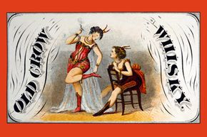 This whiskey advertising label from 1870 shows two women burlesque performers.