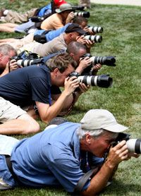 Photographers shoot the action during the first round of the 108th U.S. Open on June 12, 2008, in San Diego, Calif.