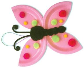 This dotty butterfly is made using paper plates and colorful poms.