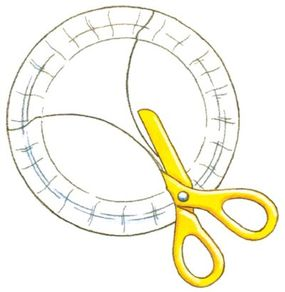 Cut the paper plates with an arcing motion.