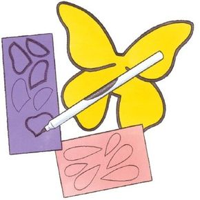 Trace the butterfly body and wing details with black marker, then cut out.