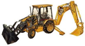 This cutaway drawing shows many of the major components of a Caterpillar backhoe loader.