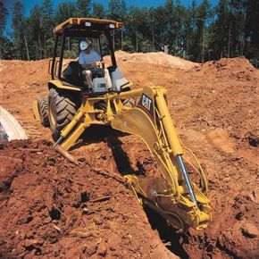 Hydraulic multiplication enables backhoes to dig with tremendous force.