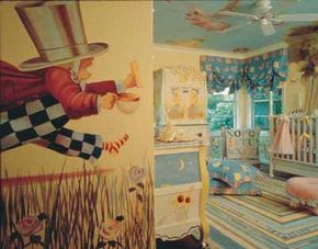 A large-scale wall mural of the Mad Hatter, along with other hand-painted motifs throughout the room, offer lots of visual stimulation.
