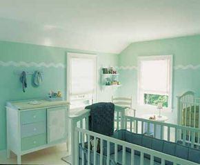 Each piece of furniture in this baby's room is simple, but the look is special thanks to a vision realized in fresh green paint. Stylist: Amy Leonard. Manufacturer: The Glidden Company.