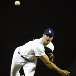 Los Angeles Dodgers pitcher Kevin Brown goes to work in a 2003 game against the Montreal Expos.