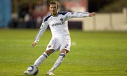 David Beckham of the Los Angeles Galaxy plays in an exhibition match in San Diego, Calif., in March 2011.