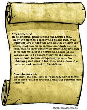 The Sixth and Eighth Amendments of the Constitution provide essential rights for a speedy trial, good counsel and reasonable bail.