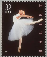 """This 1998 postage stamp shows a dancer caught in an """"attitude derrière"""" pose."""