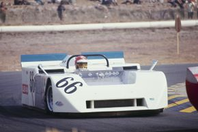 """Vic Elford drives the """"vacuum car"""" in a 1970 Can-Am race."""