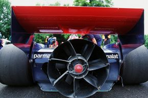 The Brabham BT46B is on show during the Goodwood Festival.