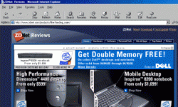 This Web page features a large Dell computer banner ad. Does anyone actually click on those banner ads? See more Web advertising pictures.