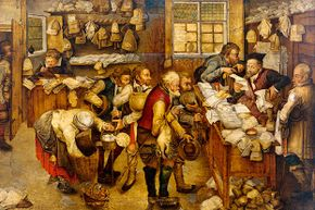 This painting by Pieter Breughel the Younger shows peasants paying the tax collector out of their meager goods.