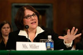 Debra Miller, standing Chapter 13 bankruptcytrustee for the northern district of Indiana, testifies during a hearing on Capitol Hill in 2008.